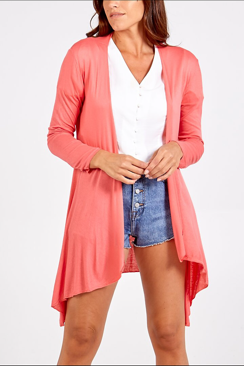 Waterfall Cardigan - Coral