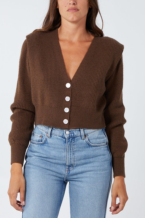 Cropped Pearl Button Knitted Cardigan