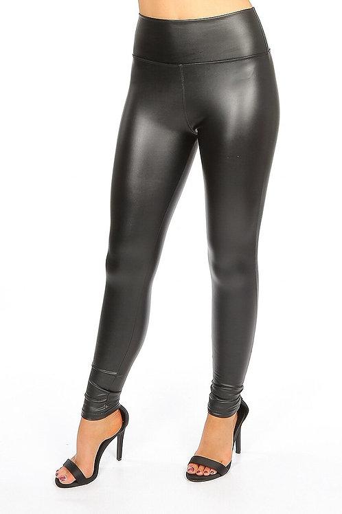High Waisted PU Leather Trousers