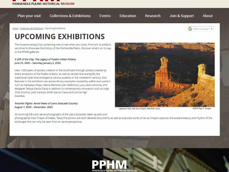 "Largest History Museum in Texas to Premier Chaplo's Photography Exhibit ""Amarillo Flights"""