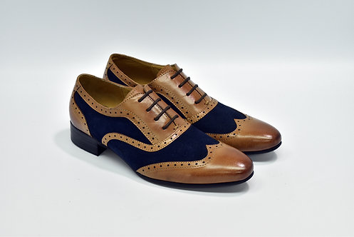 Ladies Brown&Navy Mix Leather Wingtipe Oxford J55