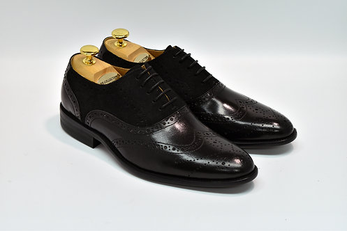 Black Mix Leather Wingtip Oxford H97