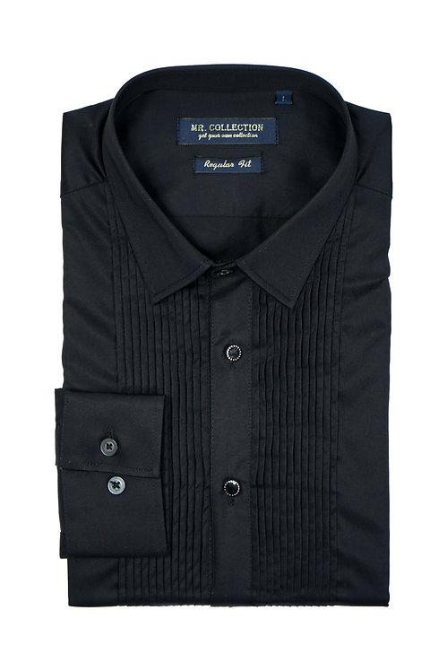 Black Pleated Dress Shirt
