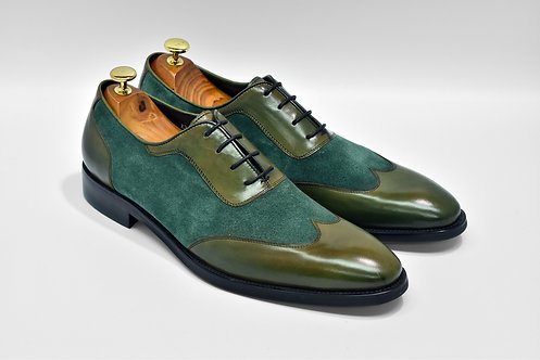 Green Patina Mix Leather Wingtip Oxford