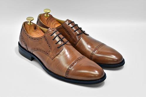 Brown Calf Leather Cap-toe Derby Q03
