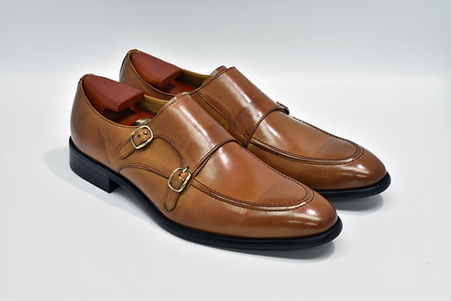 Brown Calf Leather Apron-toe Double Monk O04