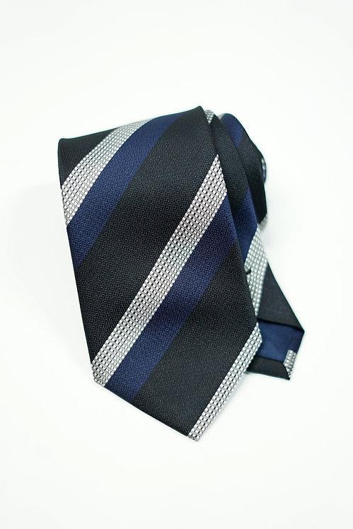Dark Navy, Navy & Silver Triple Stripe Silk Tie