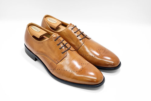 Brown Calf Leather Plain-toe Derby N01