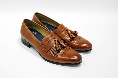 Ladies Brown Calf Leather Kiltie Tassels Loafers LO03