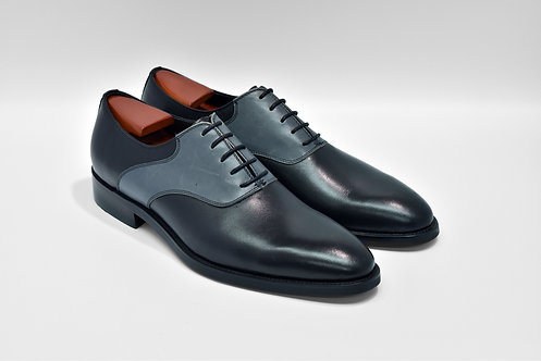 Black&Navy Calf Leather Plain-toe Oxford MS97