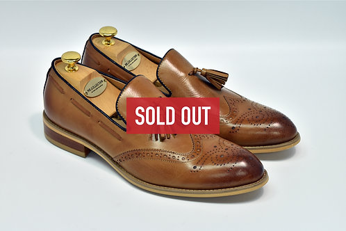 Brown Calf Leather Wingtip Tassel Loafers