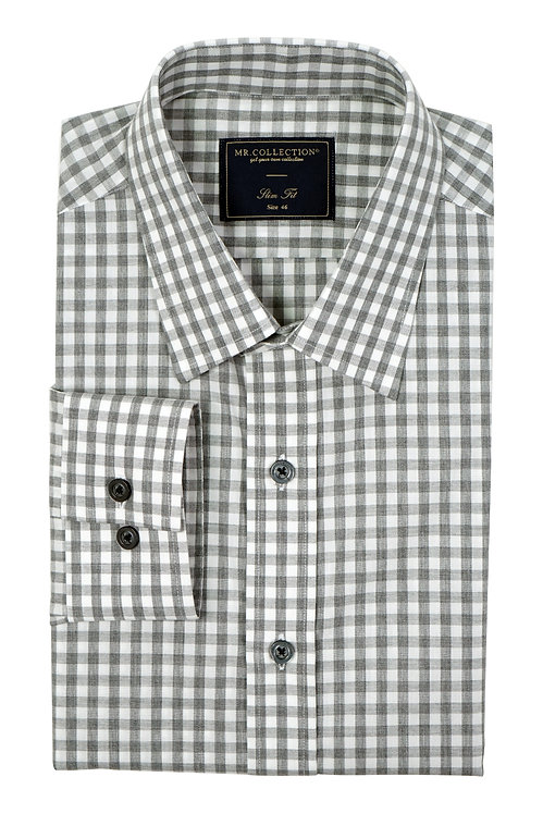 MTO Grey&White Gingham Check Shirt