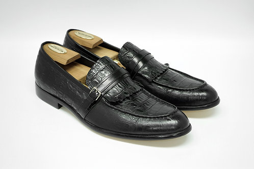 Black Crocodile Calf Leather kiltie Loafers