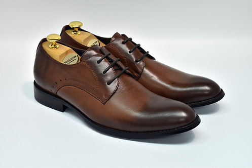 Coffee Soft Leather Plain-toe Derby J02