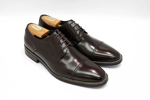 Coffee Calf Leather Cap-toe Derby N03