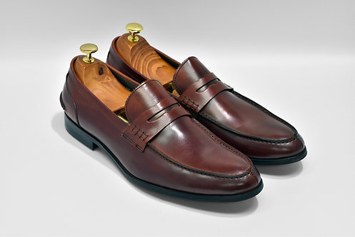 Maroon Calf Leather Penny Loafers  P05