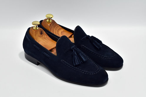 Navy Unlined Suede Tassels Loafers Q07