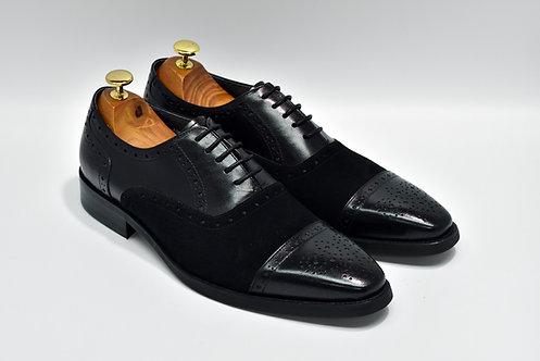 Black Mix Leather Cap-toe Oxford K33