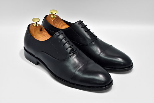 Black Calf Leather Cap-toe Oxford Q02
