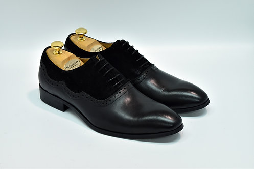 Black Mix Leather Plain-toe Oxford I18