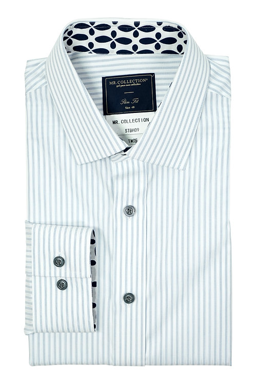 MTO White&Blue Broken Stripe Shirt
