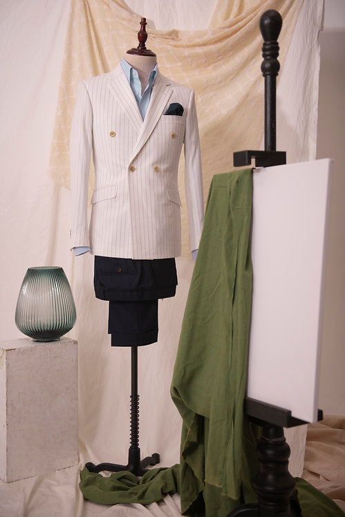 White Pinstripe Double Breasted Jacket & Navy Trousers