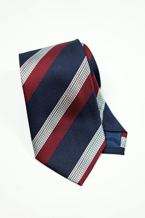 Red, Navy & Silver Triple Stipe Tie