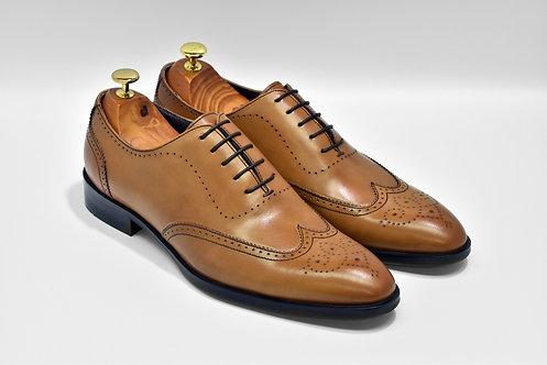 Brown Calf Leather Wingtip Oxford P04