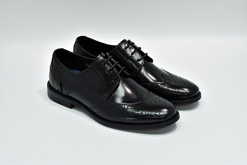 Ladies Black Calf Leather Brogue Derby I52