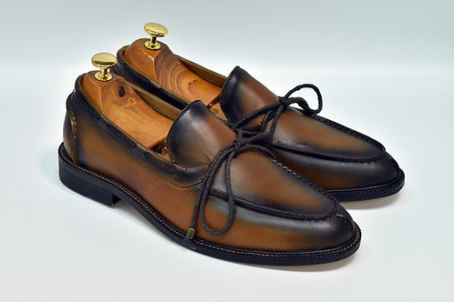 Burnish Brown Calf Leather Boat Loafers H95