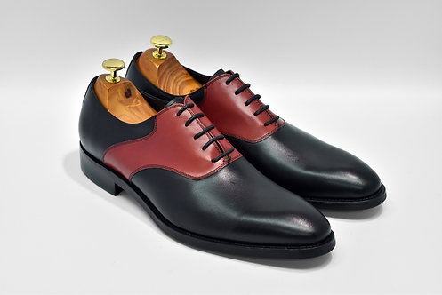 Black&Red Calf Leather Plain-toe Oxford MS97BKRD