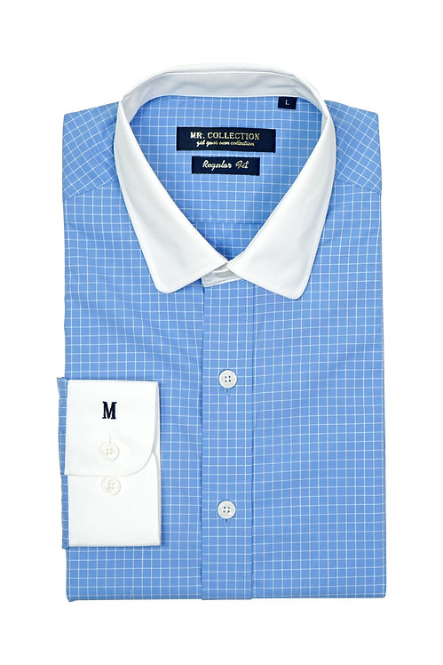 White Collar&Cuff Blue Gingham Check Shirt