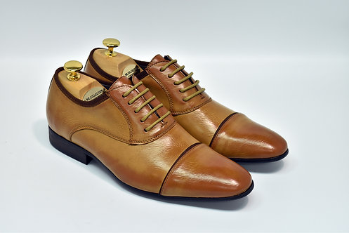 Tan Soft Leather Cap-toe Oxford J05