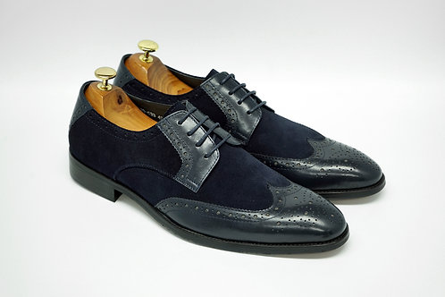 Navy Mix Leather Wip-tip Blucher