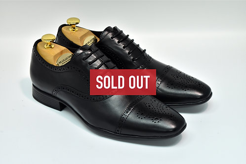 Black Soft Leather Cap-toe Oxford