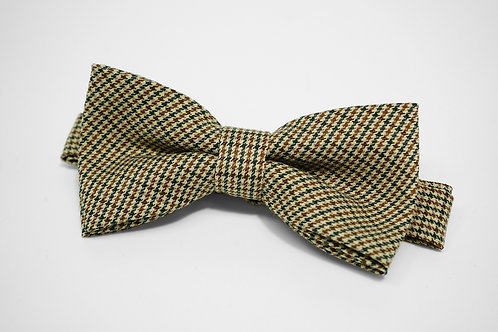 Khaki Houndstooth Bow Tie