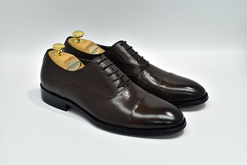 Coffee Calf Leather Cap-toe Oxford Q02