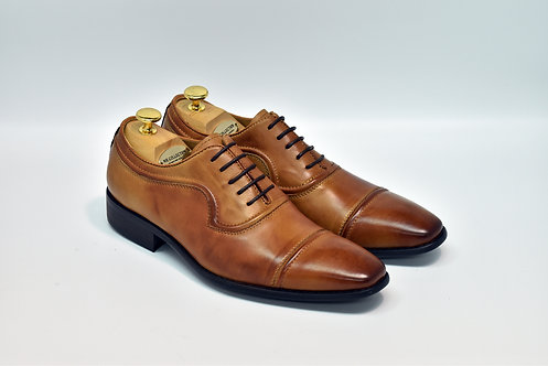Brown Calf Leather Cap-toe Oxford H07