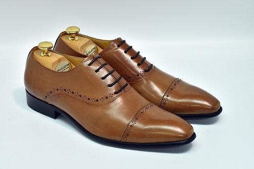Brown Calf Leather Cap-toe Oxford F08