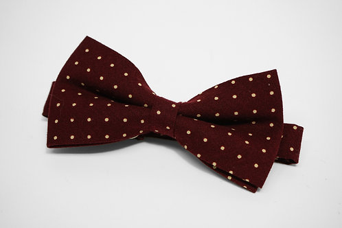 Dark Red Polkadot Bow Tie