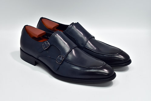 Navy Calf Leather Apron-toe Double Monk O04