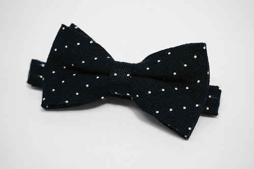 Dark Navy Polkdot Double Fold Bow Tie