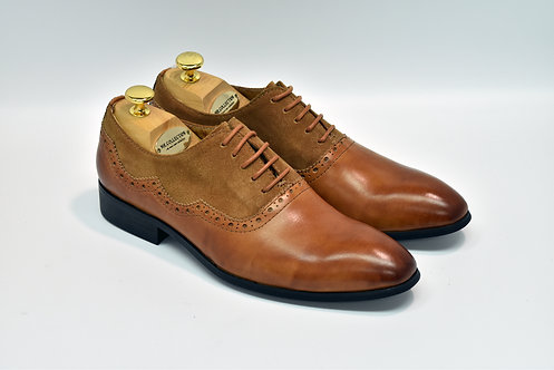 Brown Mix Leather Plain-toe Oxford I18