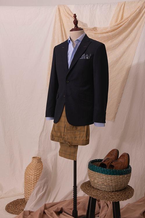 Navy Jacket & Mustard Tartan Trousers