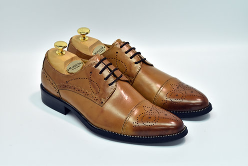 Brown Calf Leather Cap-toe Blucher I13