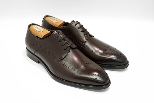Coffee Calf Leather Wingtips Derby T02