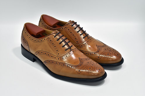 Brown Calf Leather Brogue Oxford O03