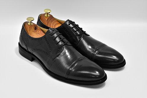 Black Calf Leather Cap-toe Derby Q03