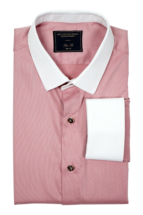 MTO White Collar&French Cuff Pink Shirt