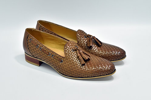 Ladies Brown Woven Calf Leather Tassels Loafers G53